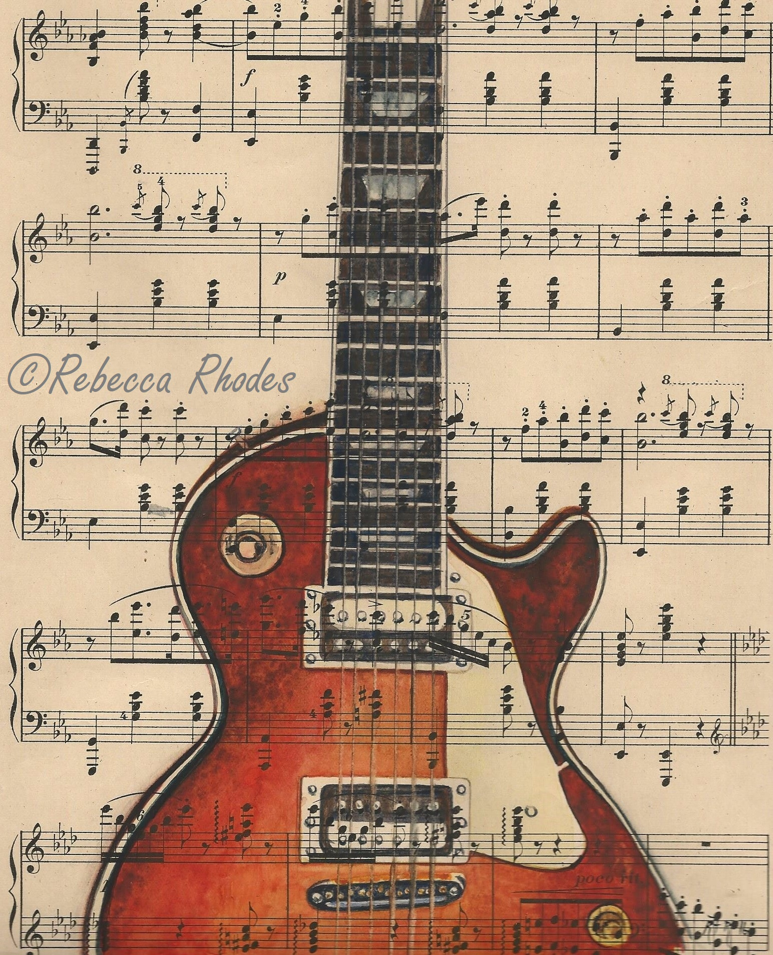 Quot Les Paul Guitar Quot On Vintage Sheet Music Fine Art Print