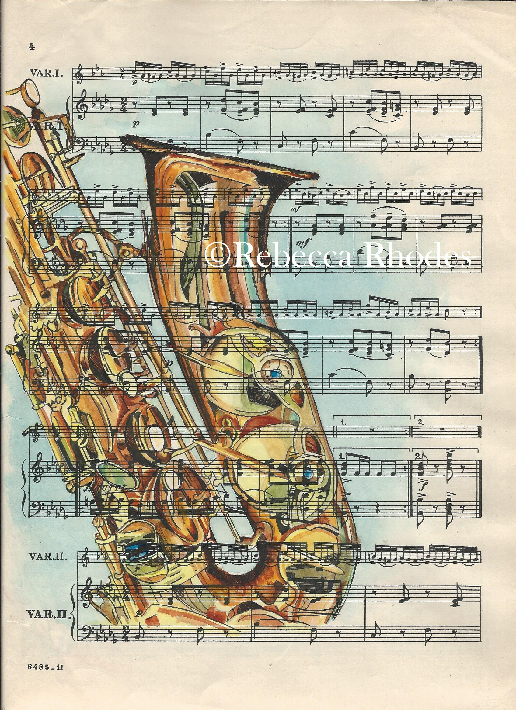 music sheet saxophone fine print painting watercolor prints rhodes rebecca