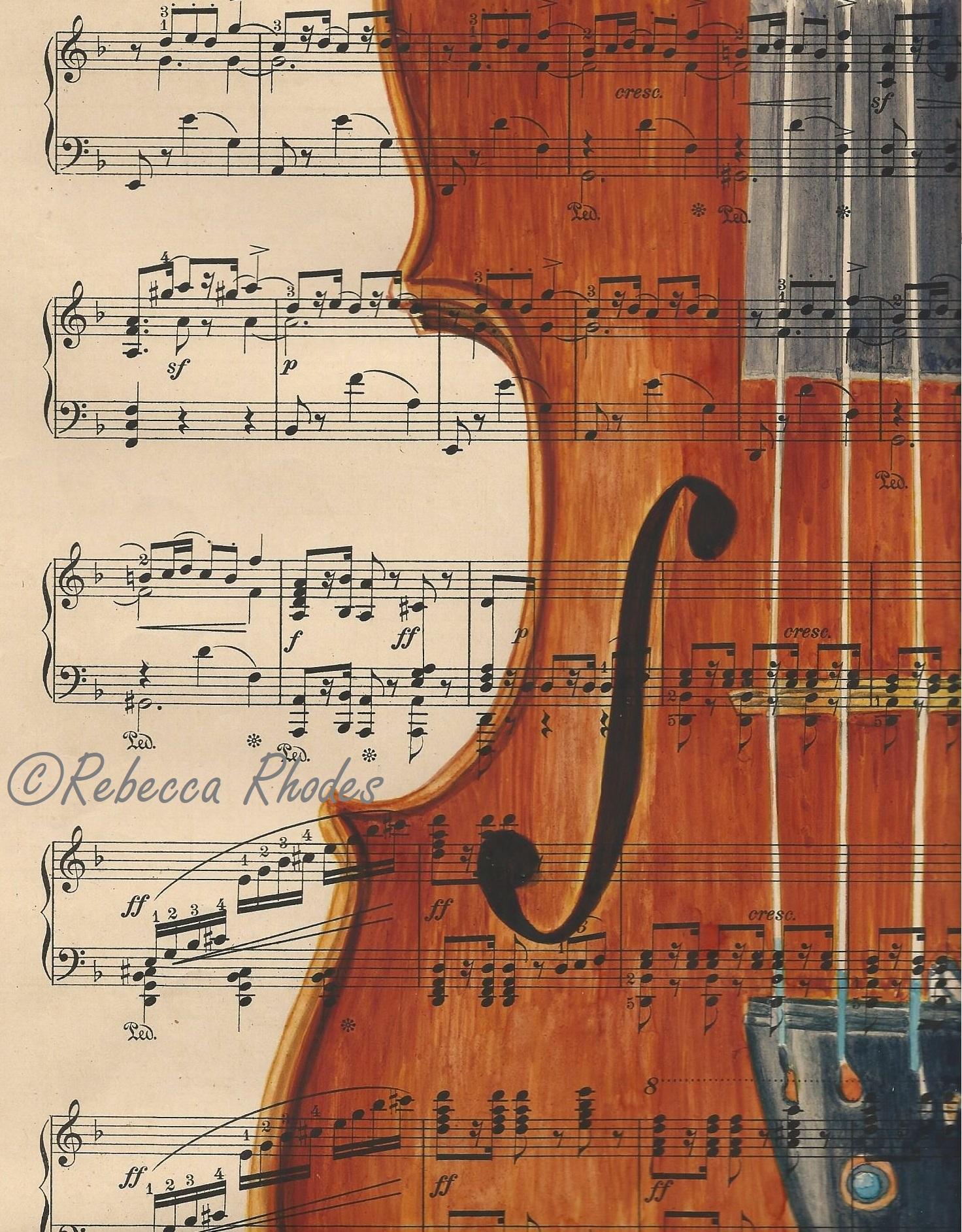 Violin On Vintage Sheet Music