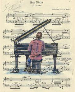 watercolor sheet music art by rebecca rhodes