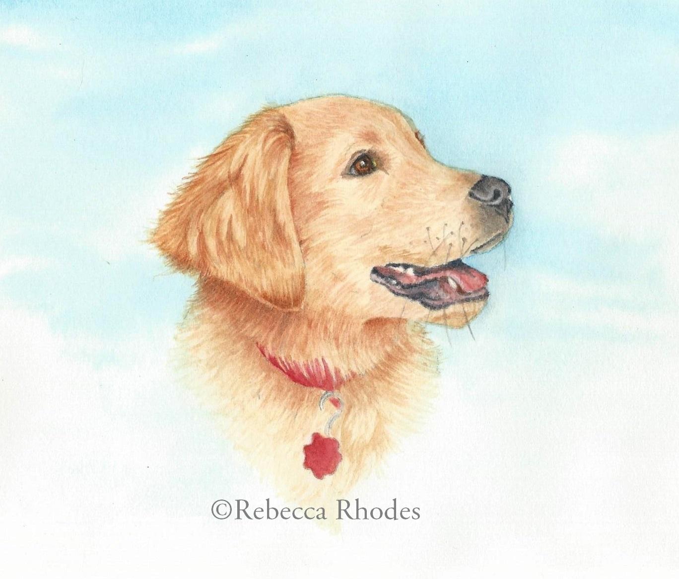 watercolor golden retriever puppy by rebecca rhodes