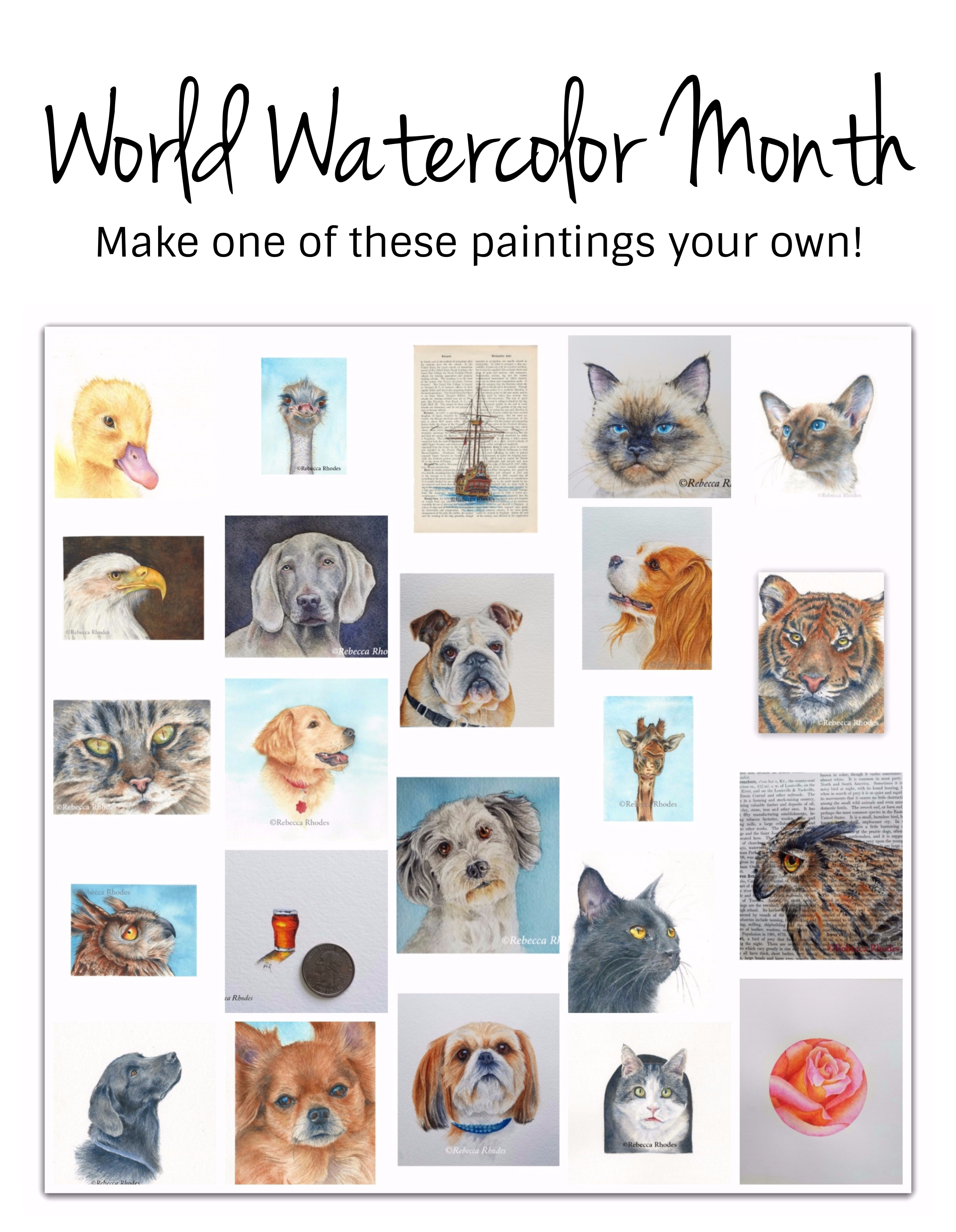world watercolor month paintings, make one your own